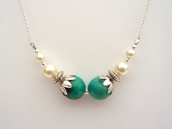 Little Koo chrysocolla and pearl 1920s style necklace