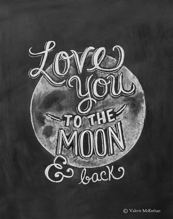 Love you to the moon and back print - Lily and Val