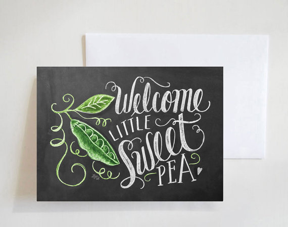 Welcome sweet pea baby card - Lily and Val