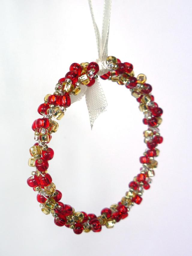 Little Koo beaded cluster red and gold Christmas tree decoration