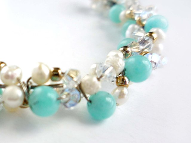 Little Koo mint pearl and crystal cluster necklace