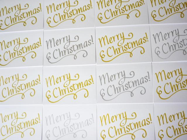Metallic calligraphy Christmas card - Little Koo
