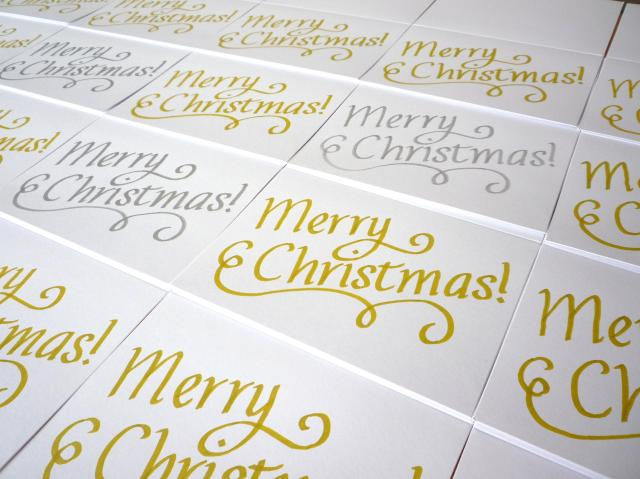 Gold and white calligraphy Christmas card - Little Koo