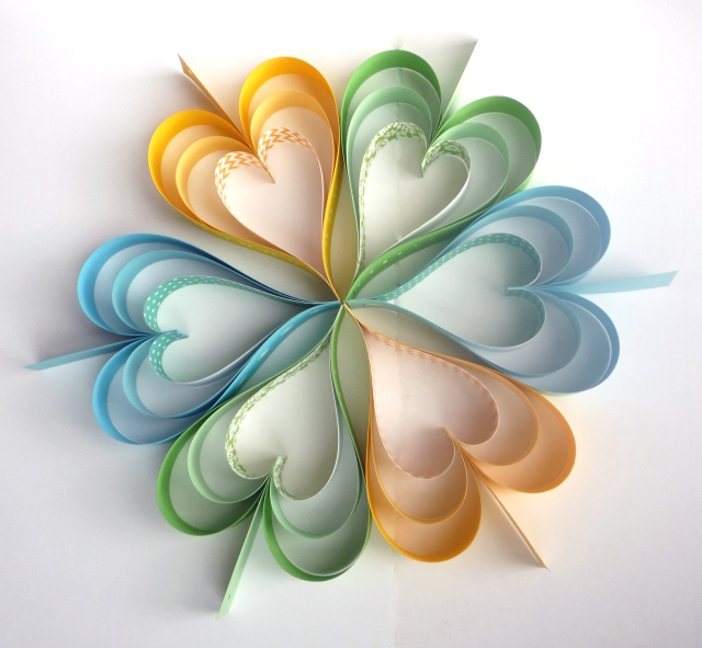 coloured paper hearts