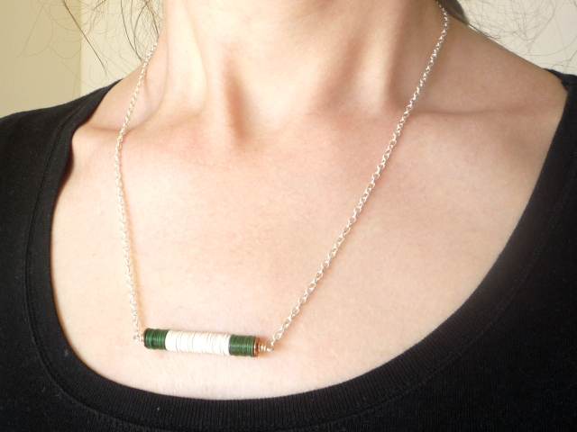green and white sequin stack pendant