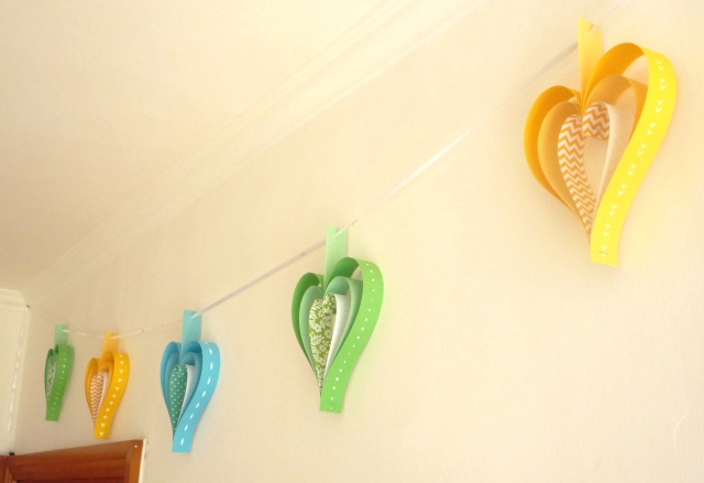 paper strip heart garland