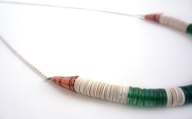 sequin necklace with copper wire cones