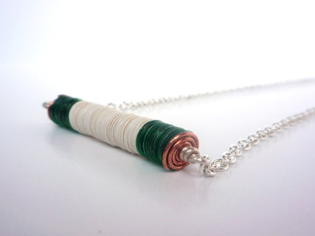 sequin necklace with copper wire spiral
