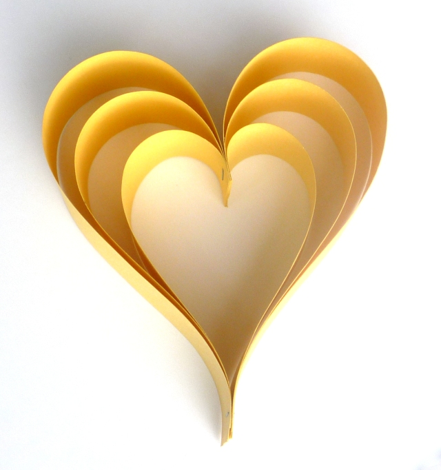 yellow paper heart