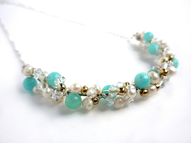 Mint green amazonite crystal and pearl cluster necklace - Little Koo