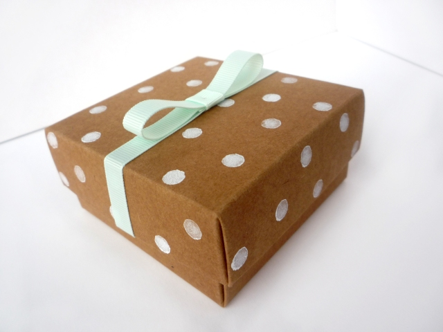 paint stamped and ribbon gift box