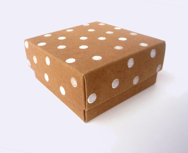 paint stamped polka dot gift box