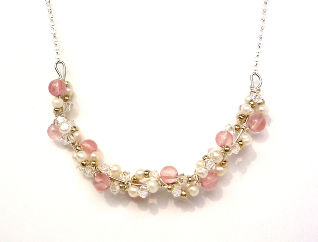 Pale pink strawberry quartz crystal and pearl cluster necklace - Little Koo