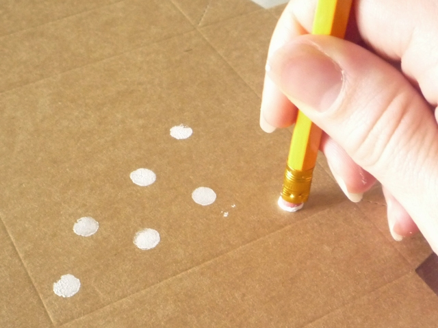 stamping polka dots with acrylic paint