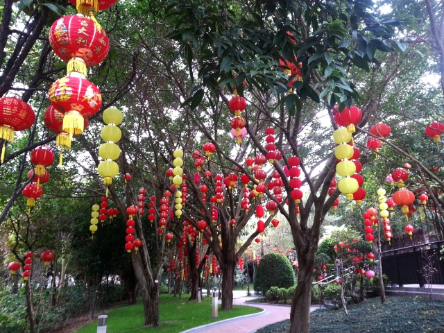 Tai Po Waterfront Park Chinese lanterns
