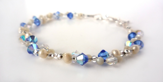 Delicate mid blue crystal and pearl bracelet