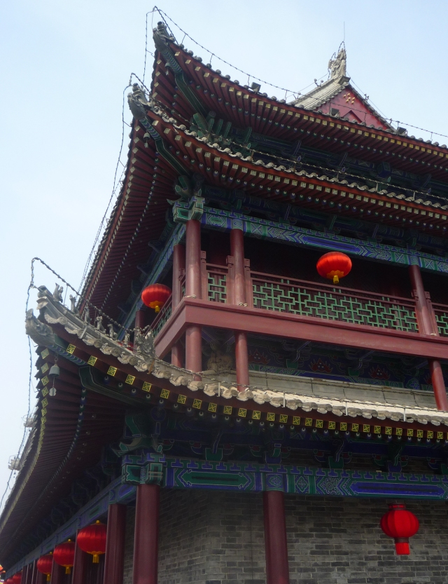 Xian city wall Chinese building with lanterns