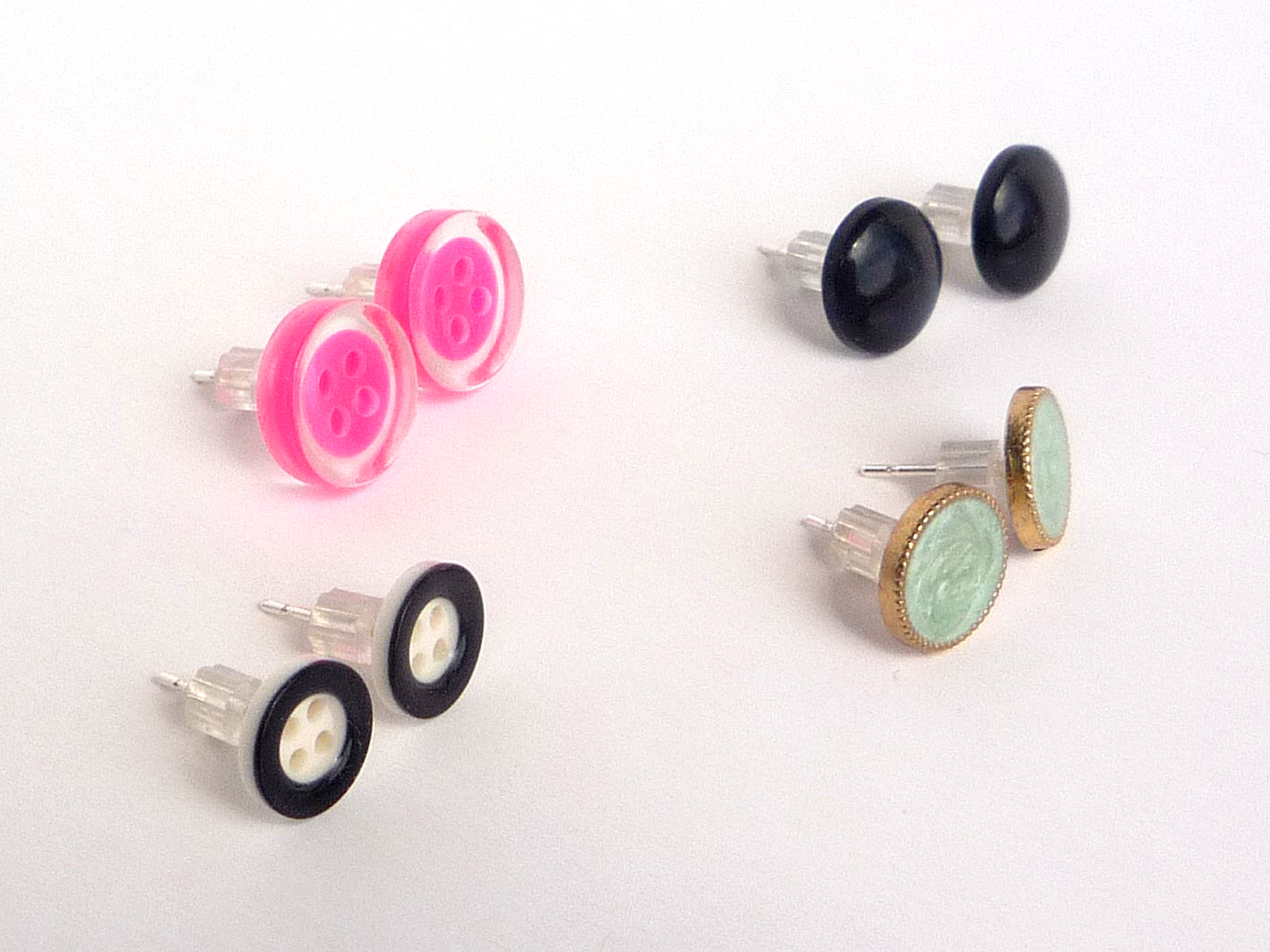 lyst pink earrings baker enamel stud rose product glitter normal button gallery tempany jewelry ted goldpink in