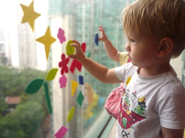 toddler activities - foam shapes on window