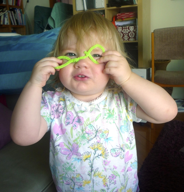 toddler activities - playing with pipe cleaners