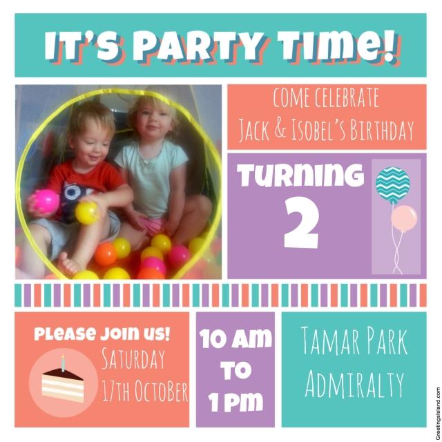 Jack & Isobel 2nd birthday party invitation