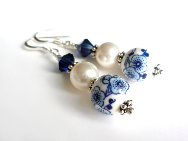 Handmade blue and white flower earrings
