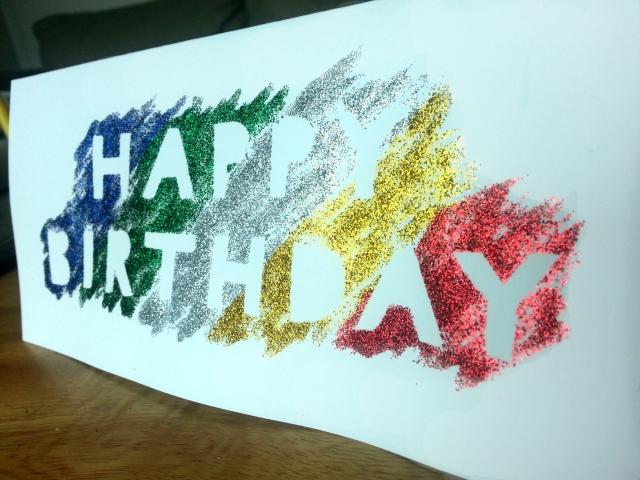 Glitter glue masked letters DIY card