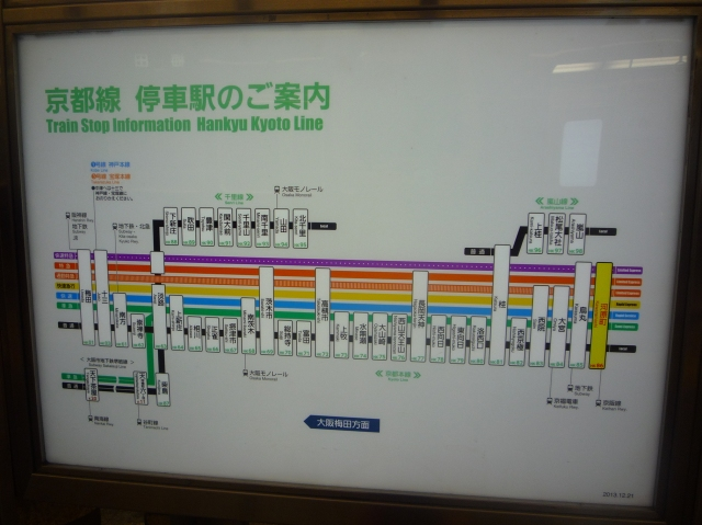 Kyoto metro line map showing the different types of trains - The Little Koo Blog