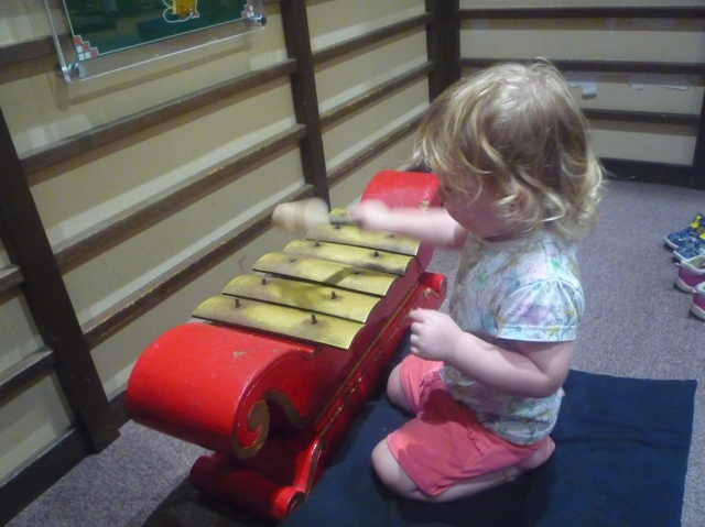 Playing instruments at Kids Plaza Osaka - The Little Koo Blog