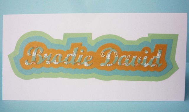 Baby name card papercut
