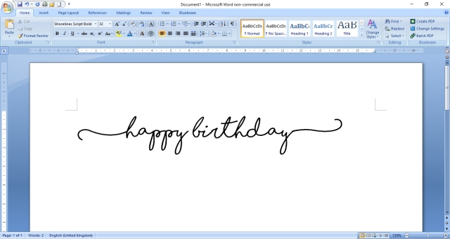 happy birthday shorelines font