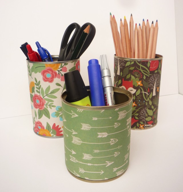 DIY paper covered pencil pots