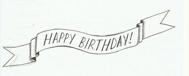 Happy birthday hand drawn banner sketch