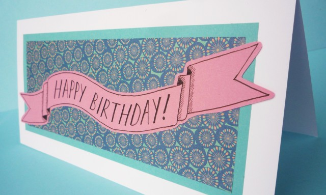 Patterned paper birthday card